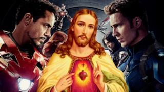 Gesù con Iron Man e Captain America