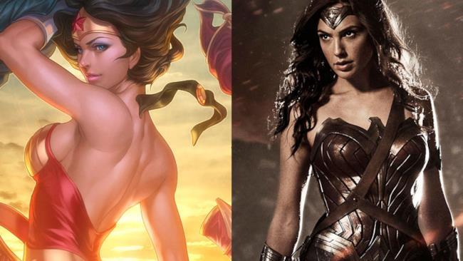 Gal Gadot nei panni di Wonder Woman e una fanart di ArtGerm