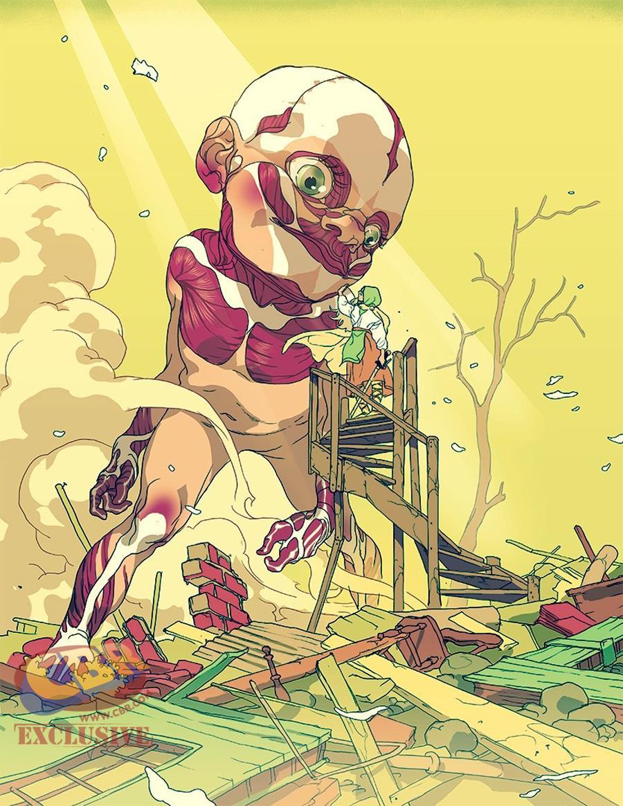 Tavola di Tomer Hanuka ispirata a L'attacco dei Giganti