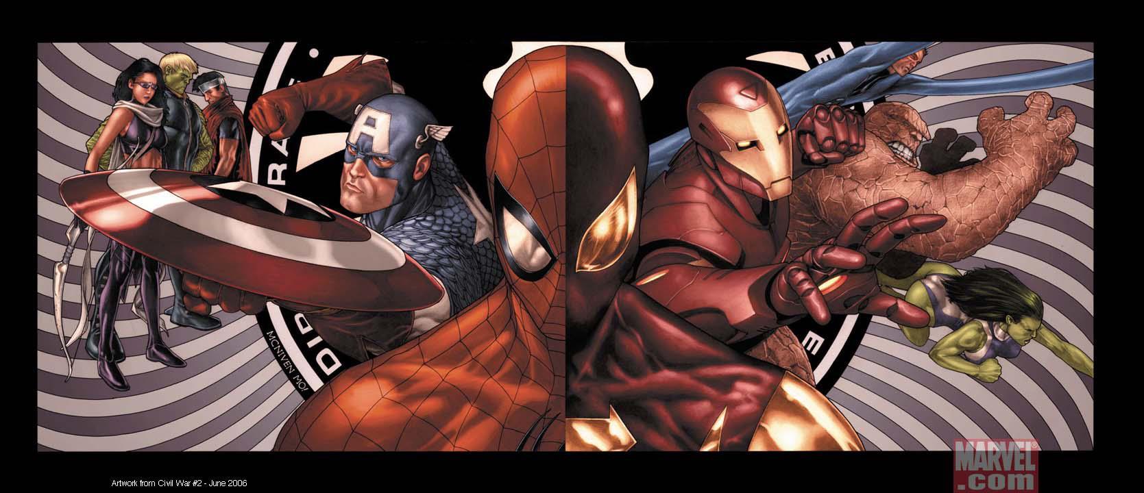 La cover di uno dei volumi di Civil War con Spider-Man