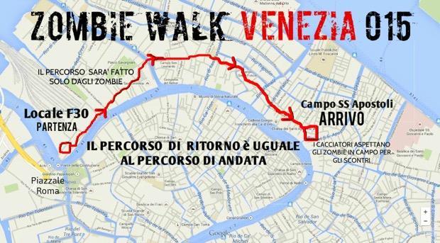 Percorso della Zombie Walk di Venezia