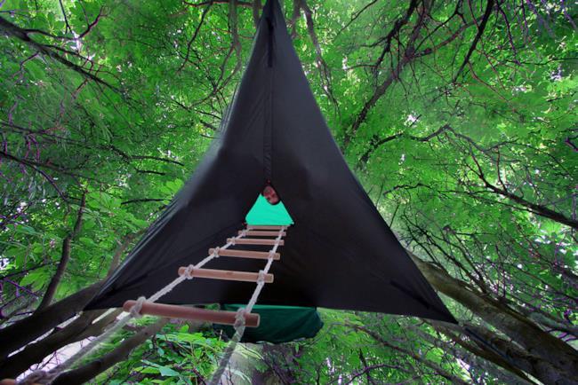 tenda sospesa Tentsile, vista da sotto