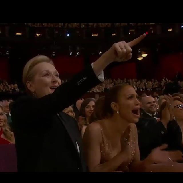 Meryl Streep e JLo durante il discorso di Patricia Arquette