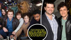 Il cast di Han Solo: A Star Wars Story con i due registi, Lord e Miller.