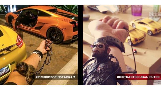 foto di ragazzi ricchi ricreata con mezzi di fortuna: la scimmia e la Lamborghini