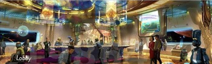 Un rendering grafico di come potrebbe essere la hall dell'albergo di Star Wars