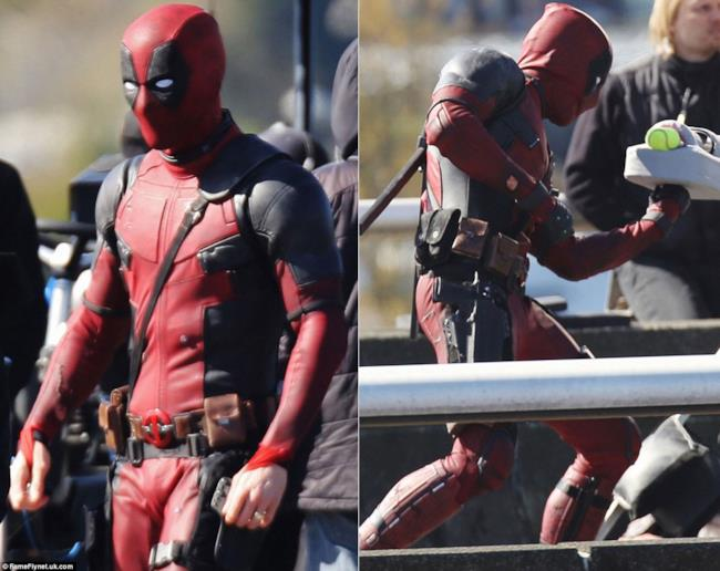 Ryan Reynolds sul set di Deadpool