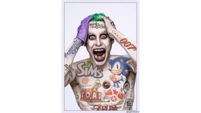 Joker ricoperto di tatuaggi dei videogiochi