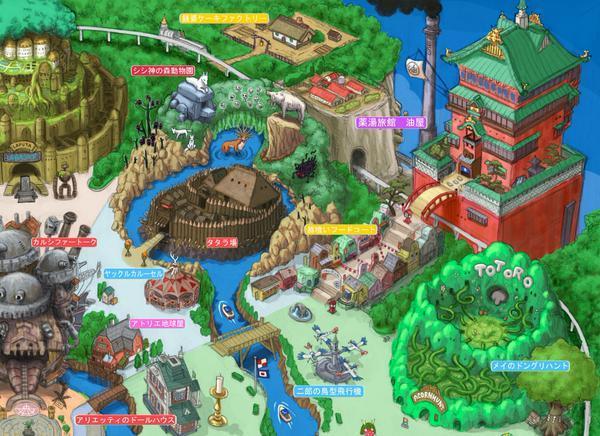 Un particolare della mappa di Ghibli Land