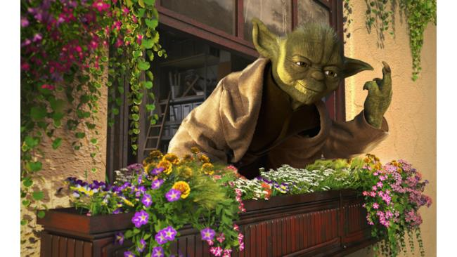Yoda fa dito medio durante una vacanza