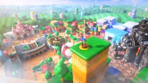 Una concept art per il futuro parco a tema Super Nintendo World in Florida.