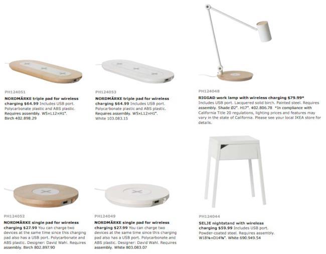 Modelli e prodotti della serie di mobili wireless di IKEA