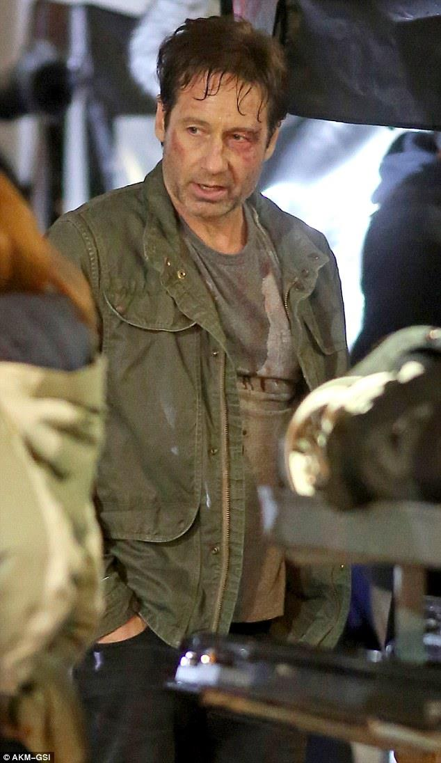 David Duchovny sul set di X-Files