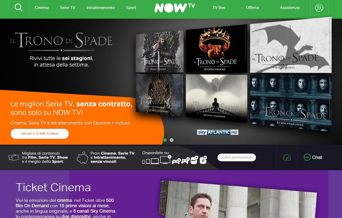 Game of Thrones in streaming - La home page di Now TV