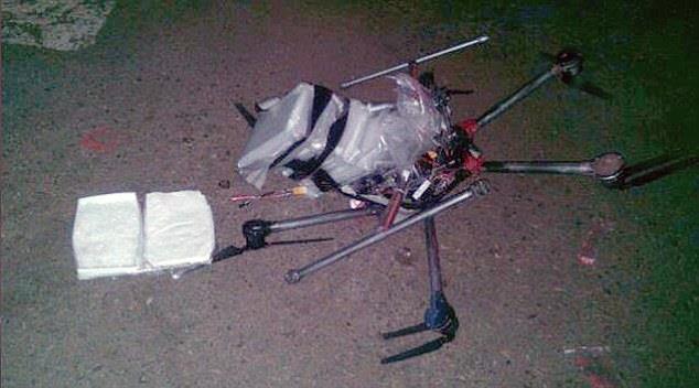 Drone con il carico di metanfetamina schiantato al suolo