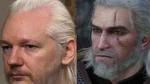 Un collage con Julian Assange e il protagonista del videogame The Witcher