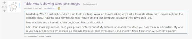 L'incidente porno di Windows 10 descritto su Reddit