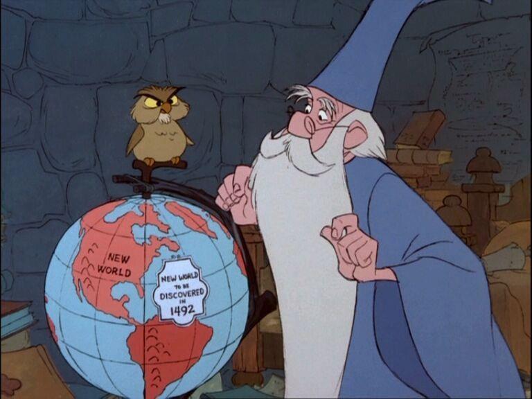 Il Mago Merlino nel film d'animazione La Spada nella Roccia.