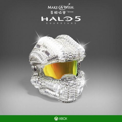 HALO 5: SWAROVSKI CRYSTAL MASTER CHIEF HELMET FOR SALE, BENEFITS MAKE-A-WISH FOUNDATION