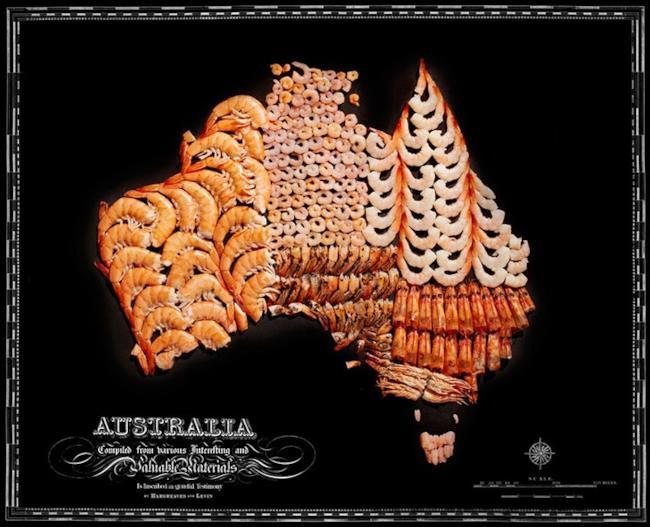 Cartina dell'Australia fatta con il cibo