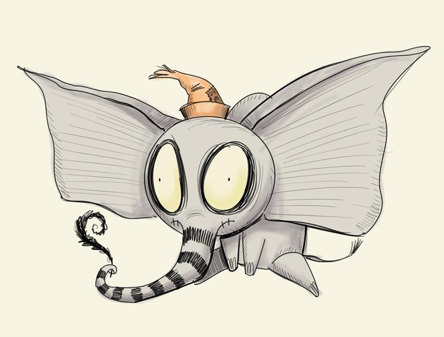 Dumbo immaginato in un film di Tim Burton