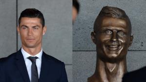 Cristiano Ronaldo e il suo busto all'aeroporto di Madeira