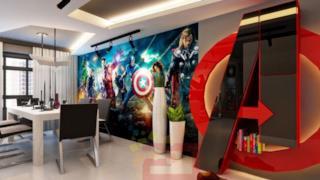 La sala a tema Avengers