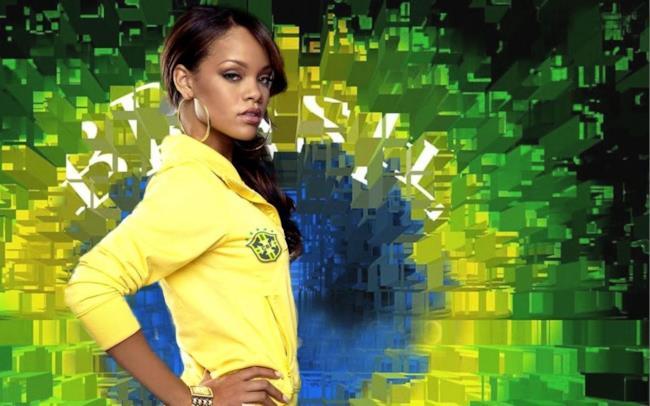 Rihanna con sfondo brasiliano