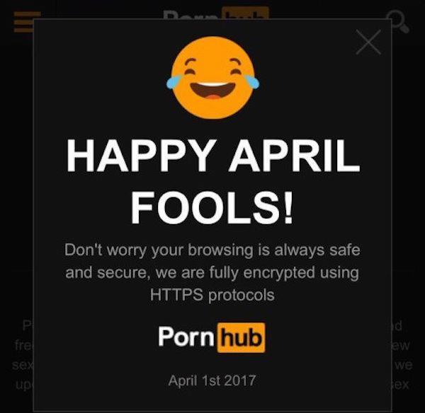 La schermata con il Pesce d'aprile di PornHub