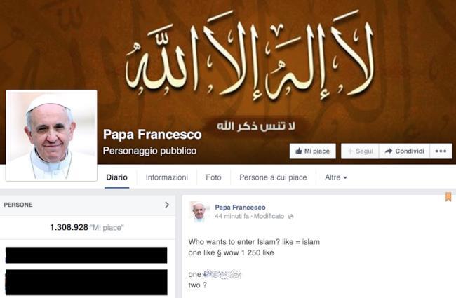 Immagine della pagina Facebook del Papa hackerata