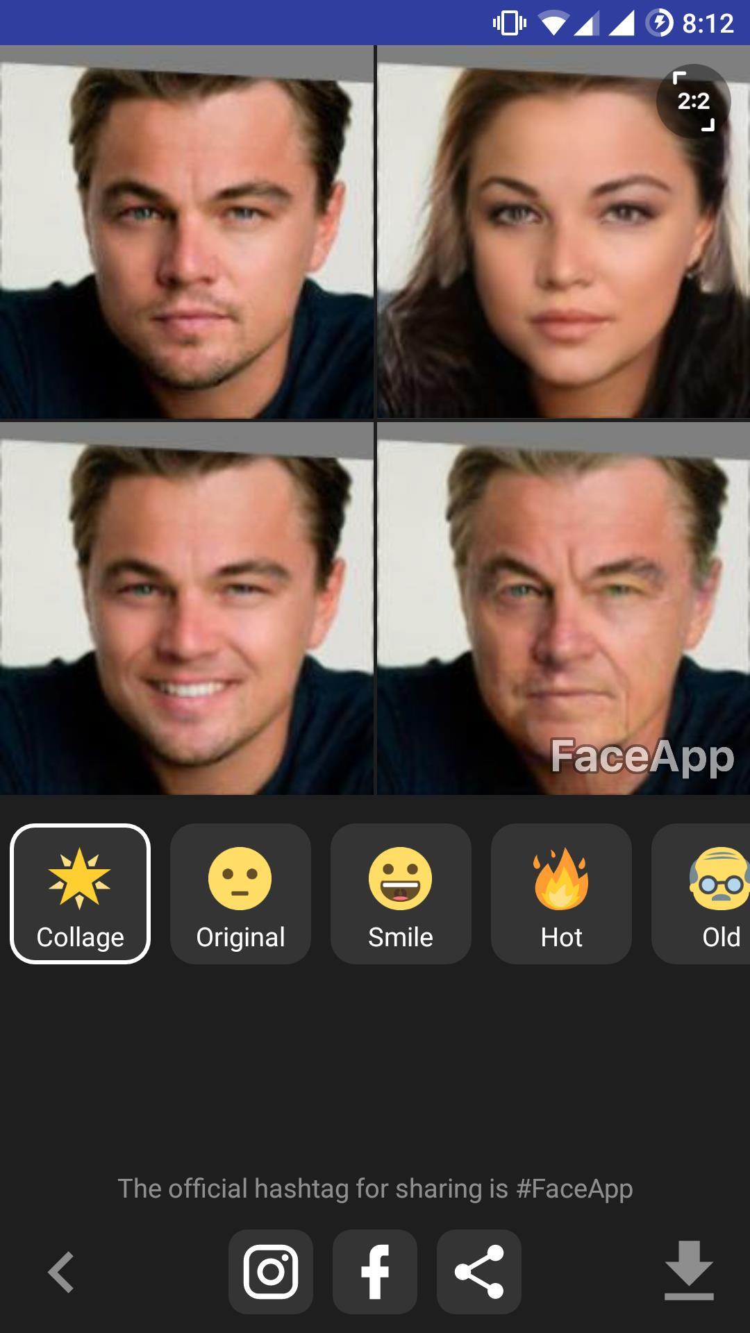 Leonardo DiCaprio modificato con FaceApp