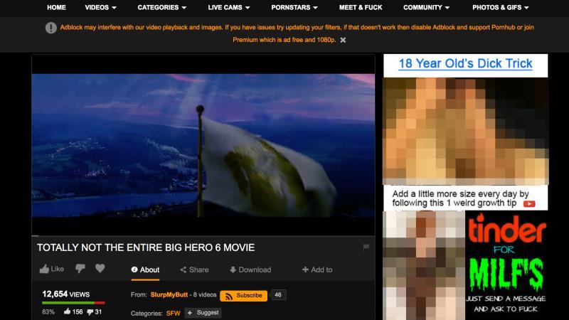 la pagina web di pornhub dove vedere Big Hero 6