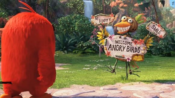 Una scena dal film di Angry Birds