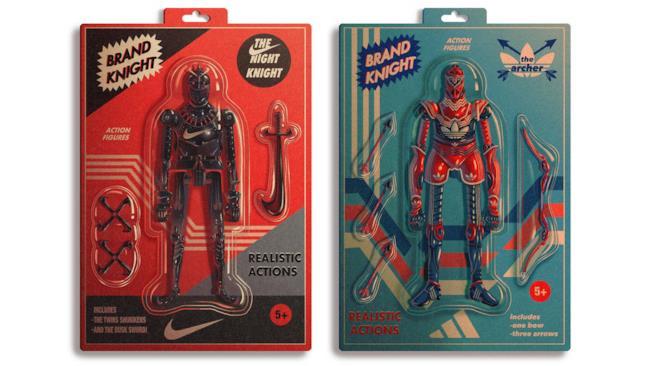 Artwork che mostra i Cavalieri Nike e Adidas