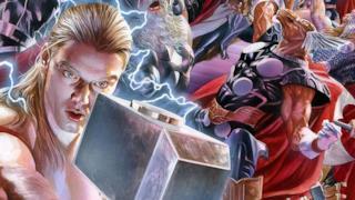 Un particolare della copertina si Secret Wars 2, con tutte le versioni di Thor
