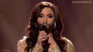 la drag queen Conchita Wurst, che ha vinto l'Eurovision 2014