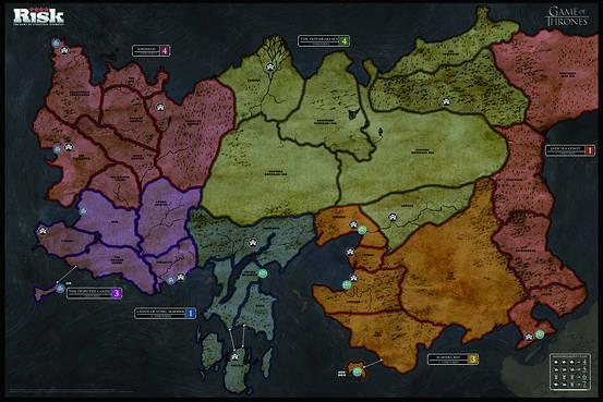 Una delle mappe del Risk di Game of Thrones