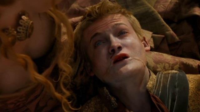 Un morente Joffrey Baratheon di Game of Thrones
