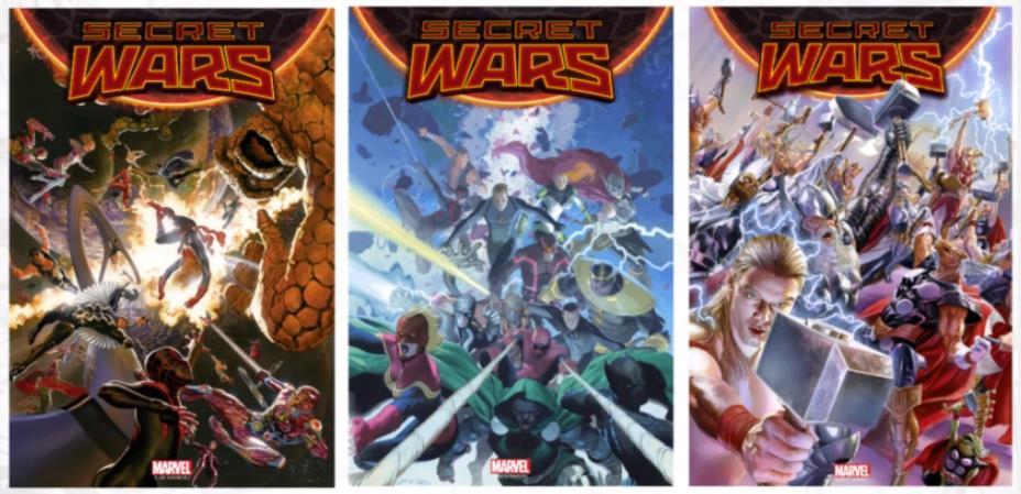 Le cover dei primi 3 numeri di Secret Wars