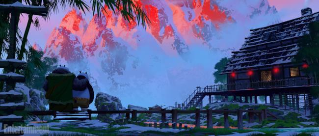 Po e Li nel villaggio panda di Kung Fu Panda 3