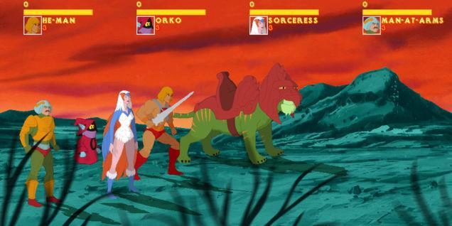 He-Man con dei personaggi nel videogioco