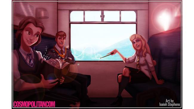 Belle e Autora sull'Espresso per Hogwarts