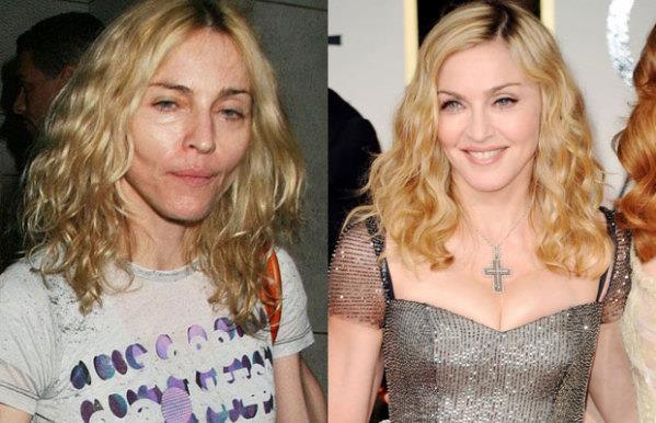 Madonna senza trucco e con makeup