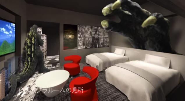 La camera Godzilla dell'Hotel Gracery a Tokyo