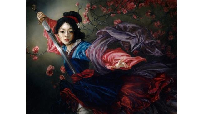 Mulan pronta a combattere in un'opera d'arte ispirata alle Principesse Disney
