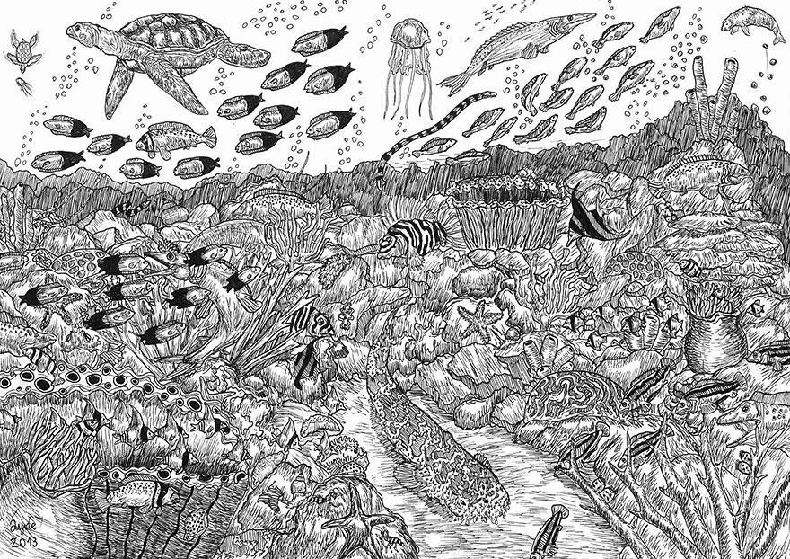 Il mondo marino rappresentato da un artista di 11 anni