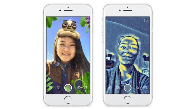 Due smartphone con la sezione fotocamera di Facebook Storie