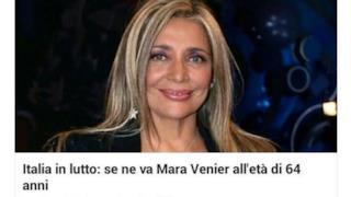 Mara Venier, spacciata per morta da un giornale inesistente