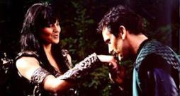 Xena (Lucy Lawless) e Autolico (Bruce Campbell, Ash nel franchise di The Evil Dead)