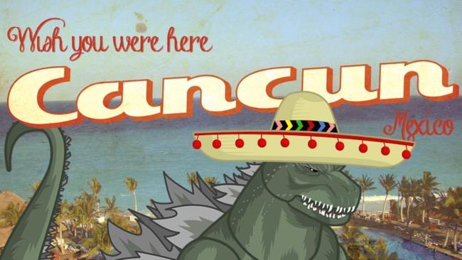 Cartolina da Cancun con Godzilla
